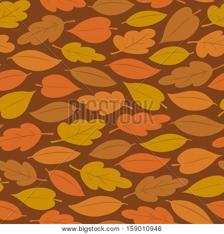 Seamless background pattern of colorful autumn or fall leaves vector illustration