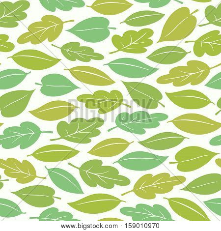 Seamless pattern of colorful spring or summer leaves vector illustration