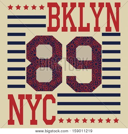 New york Brooklyn sport typography t-shirt. New york College fashion design print for t-shirt. New york sports Graphics, original wear, Brooklyn sportswear apparel - vector