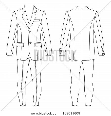 Man's suit (jacket & skinny jeans) outlined template front & back view vector illustration isolated on white background