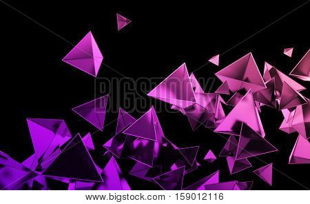 Abstract 3d rendering of chaotic pink and purple low poly shapes. Flying polygonal pyramids in empty space. Futuristic background. Poster design.