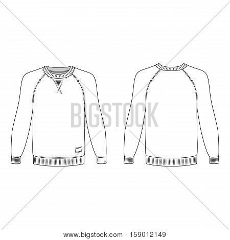 Raglan long sleeve t-shirt outlined template (front & back view) vector illustration isolated on white background
