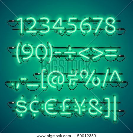 Glowing Neon Green Numbers. Used pattern brushes included. There are fastening elements in a symbol palette.