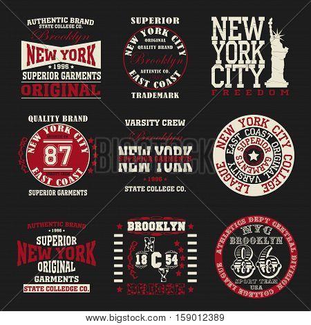 New york set typography, t-shirt graphics - vector
