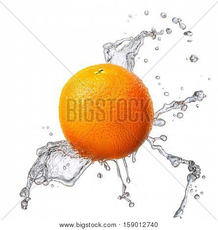 Water splash and fruits isolated on white backgroud with clipping path. Fresh orange