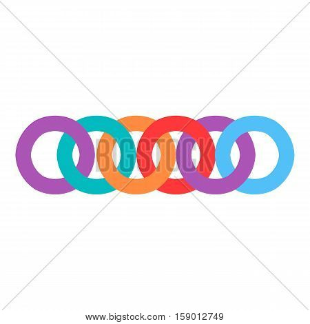 Colorful chain icon. Flat illustration of colorful chain vector icon for web