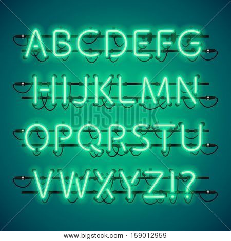 Glowing Neon Green Alphabet. Used pattern brushes included. There are fastening elements in a symbol palette.