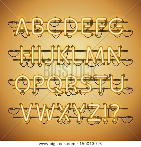 Glowing Neon Golden Alphabet. Used pattern brushes included. There are fastening elements in a symbol palette.