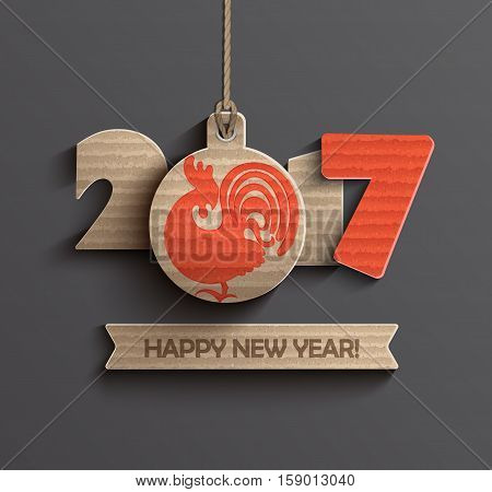 Happy New Year 2017. Year of roster 2017 with ribbon and text happy new year. Vector illustration.