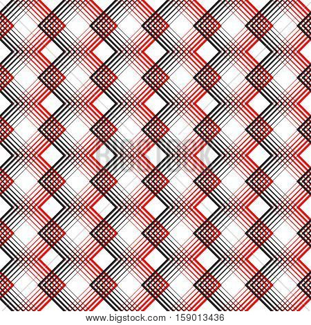 Seamless Tartan Pattern. Vector Black and Red Woven Background. British Plaid Ornament. Abstract Diagonal Thin Line Art Wallpaper. Wrapping Paper Checks Texture