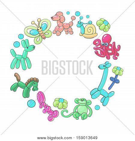Round frame of balloon animals - dog, giraffe, flower, rabbit, horse, rabbit, monkey, cartoon vector illustration isolated on white background. Inflatable toys made of twisted balloons, round frame