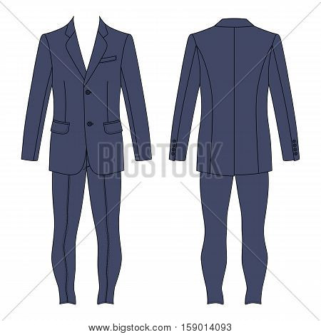 Man's grey suit (jacket & skinny jeans) outlined template front & back view vector illustration isolated on white background