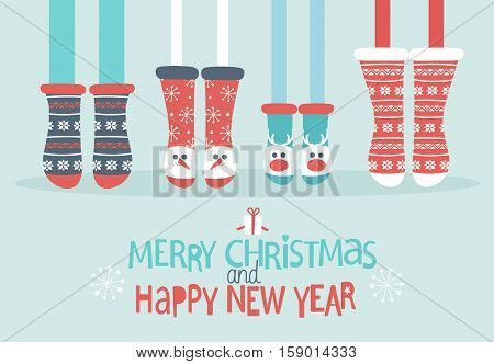 Family feet in Christmas socks. Winter holiday concept. Merry Christmas and Happy new year lettering. Vector illustration.