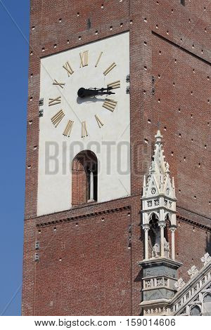 Belfry of the gothic cathedral of Monza, Italy