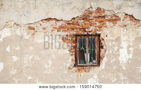 Window on the old cracked brick wall