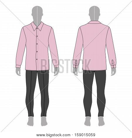 Full length man's grey silhouette figure in in a long sleeve buttoned shirt and skinny jeans template (front & back view) vector illustration isolated on white background