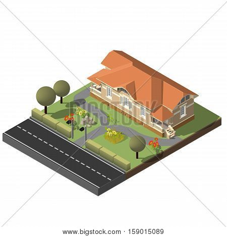American Cottage, stone House For Real Estate Brochures Or Web Icon. With Yard, Green Grass, Road, Isometric Vector EPS10