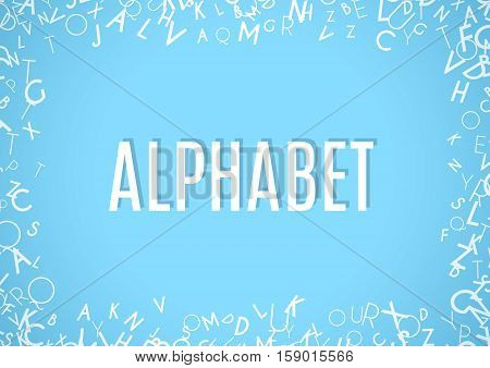 Abstract white alphabet ornament frame isolated on blue background. illustration for education writing design. Random letters flying around. Alphabet book concept for grammar school