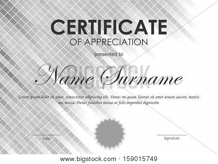 Certificate of appreciation template with gray square netting background and seal. Vector illustration