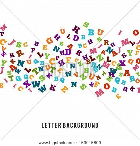 Abstract colorful alphabet ornament border isolated on white background. illustration for bright education, writing, poetic design. Random letters fly stripe. Book concept for grammar school.