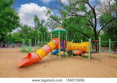 Children playground in the park. Wachirabenchatat park Bangkok.