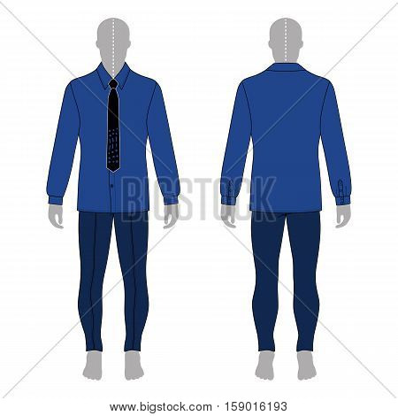 Full length man's gray silhouette figure in in a long sleeve buttoned shirt & tie and skinny jeans template (front & back view) vector illustration isolated on white background