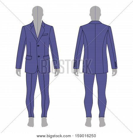Full length man's grey silhouette figure in a single breasted suit (jacket & skinny jeans) template (front & back view) vector illustration isolated on white background
