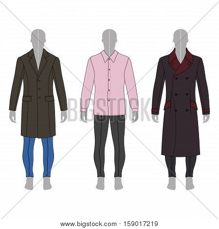 Full length man's gray silhouette figure in a coat shirt and skinny jeans template set (front & back view) vector illustration isolated on white background