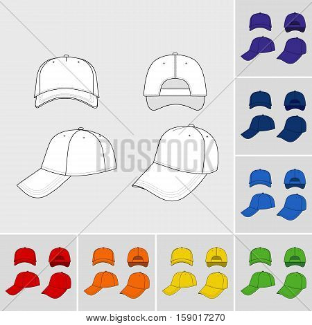 Baseball tennis cap colored vector illustration featured front back side top bottom isolated on grey You can change the color or you can add your logo easily.