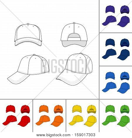 Baseball tennis cap colored vector illustration featured front back side top bottom isolated on white You can change the color or you can add your logo easily
