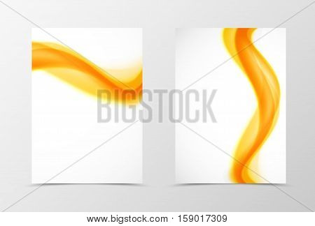 Front and back wave flyer template design. Abstract template with orange transparent lines in dynamic soft style. Vector illustration