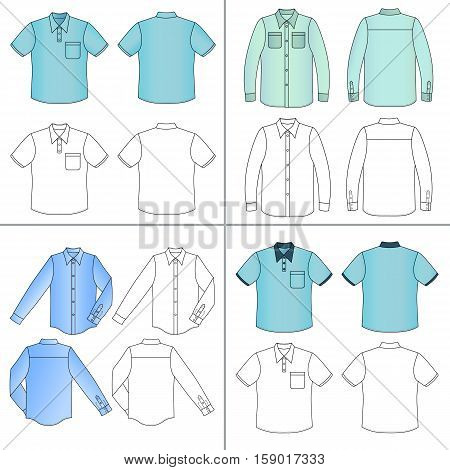 Long short sleeved man's buttoned shirt outlined template set (front & back view) vector illustration isolated on white background