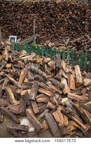 Firewood harvested in winter for heating homes
