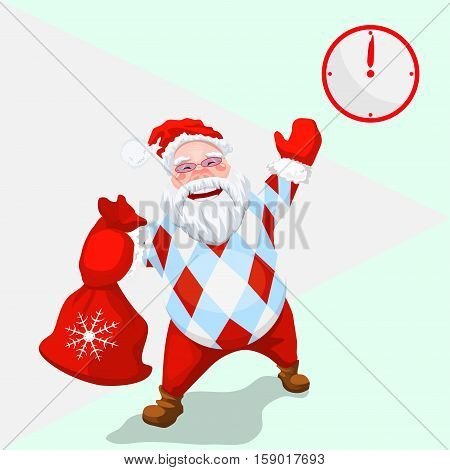 Time to celebrate - Gift Time - New Year came - Christmas Santa with a bag of gifts - Trendy Santa Claus
