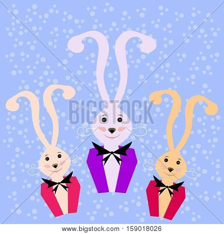 Postcard with the image of a rabbit in a tuxedo and a bow at the neck