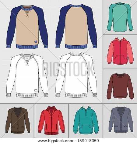 Men's clothing outlined template set front view (jacket raglan t shirt hoodie sweatshirt sports pullover) vector illustration isolated on grey background