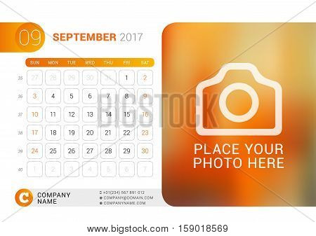 Desk Calendar For 2017 Year. September. Vector Design Print Template With Place For Photo, Logo And
