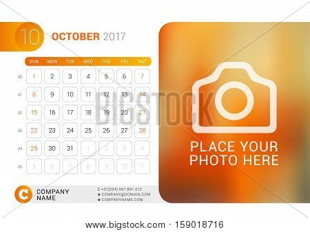 Desk Calendar For 2017 Year. October. Vector Design Print Template With Place For Photo, Logo And Co