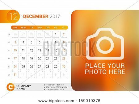 Desk Calendar For 2017 Year. December. Vector Design Print Template With Place For Photo, Logo And C