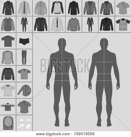 Men's large clothing outlined template set (single breasted suit shirt pullover hoodie quilted jacket etc.) & man croquis silhouette vector illustration isolated on grey background