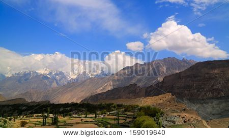 View to Rakaposhi peak Karakorum mountains Pakistan