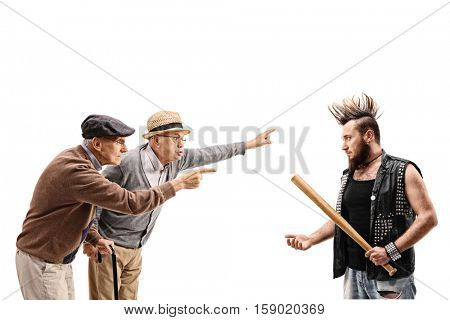 Two elderly men arguing with a punker isolated on white background