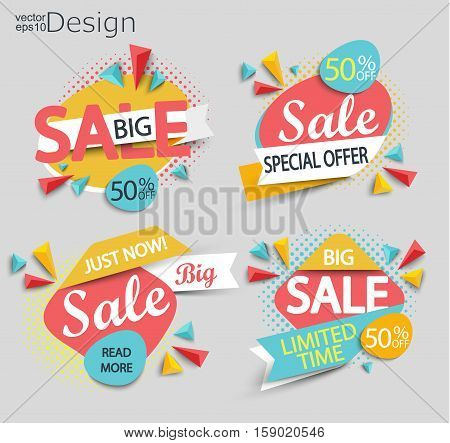 Sale - set of labels. Sale and discounts. Vector illustration.