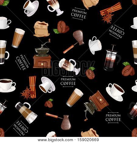 Coffee Elements Seamless Pattern. Coffee Grinder, Cinnamon, Cup, Coffee, Cappuccino, Latte, American