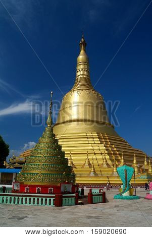 View to Shwemawdaw pagoda in Bago Myanmar