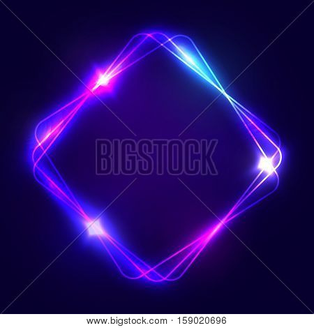 Neon sign. Square glowing light banner with blank space. Electric rectangle frame on dark blue background. Neon right-angled background with flares and sparkles. Vintage vector illustration.