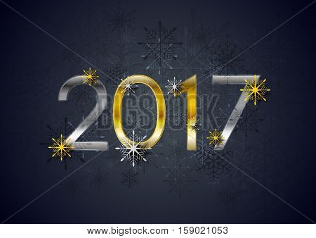 Golden and silver 2017 New Year holiday background. Greeting card decorative vector design