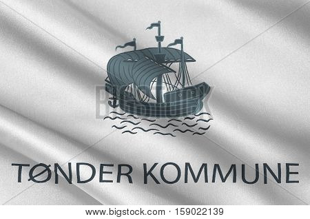 Flag of Toender is a municipality in Region Hovedstaden of Denmark. 3d illustration