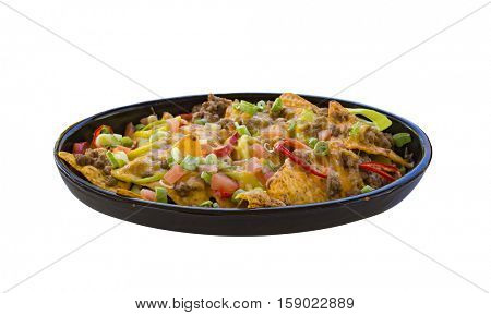 Plate of nachos isolated on white background