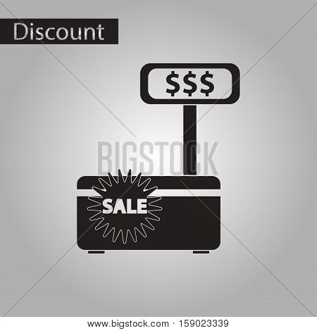 black and white style icon of cash machine sale discounts